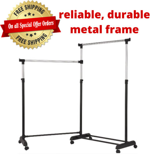 adjustable height and width rolling garment rack chrome and black
