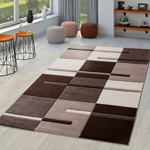 Moderner Wohnzimmer Teppich Braun Beige Creme Karo Muster mit Konturenschnitt  eBay