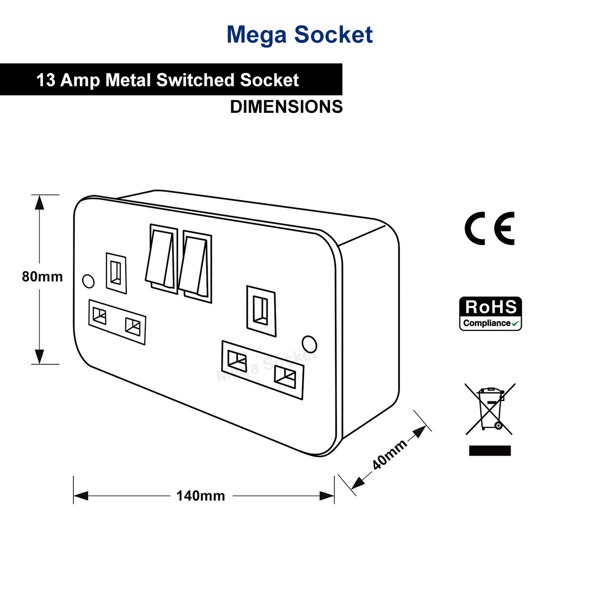 Metal Clad 13 Amp Double 2 Gang Switched Socket Twin