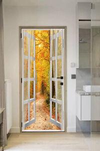 3d Door Wallpaper : wallpaper, Window, Maple, Forest, Living, Mural, Stickers, Wallpaper, Decor