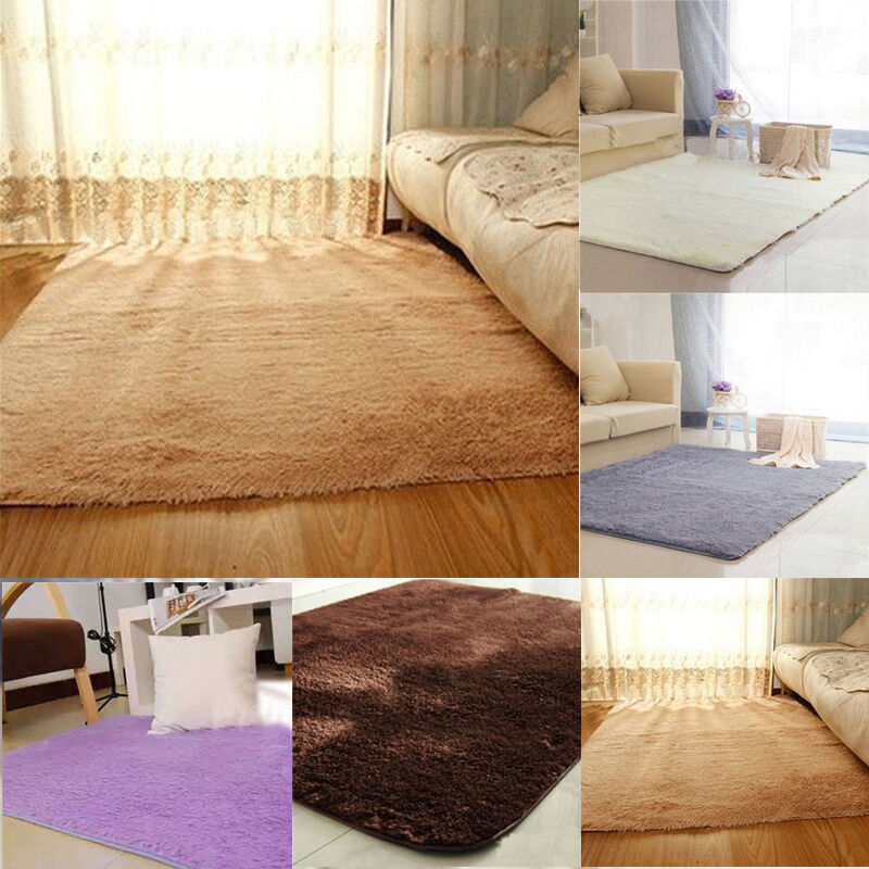 Fluffy Antiskid Shaggy Area Rug Dining Living Room Carpet Comfy Bedroom Floor  eBay