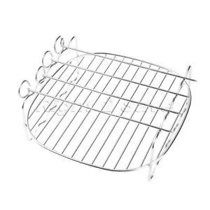 Silver Double Layer Pan Rack Skewer Cooking Tray for