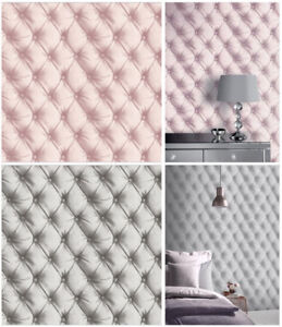 details sur tete de lit papier peint matelasse faux cuir de luxe arthouse argent rose poudre afficher le titre d origine