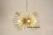 5 Bulbs Mid Century Gold Brass Sphere Urchin Chandelier Light Fixture