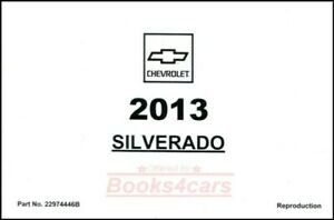 SILVERADO 2013 OWNERS MANUAL CHEVROLET BOOK OWNER'S TRUCK