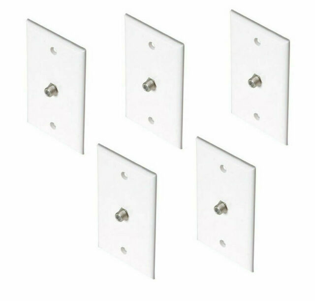 Lot of 5 Coaxial Wall Plate 200-251WH F-81 Coax TV/Cable