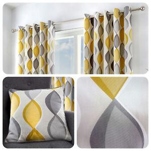 details sur fusion lennox gris jaune 100 coton pret a l emploi a œillets rideaux et coussins afficher le titre d origine