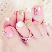 24pcs pink 3d false toe nails french