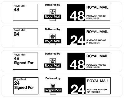 Royal Mail Pre-Printed PPI Labels 24/48 Hour Standard or