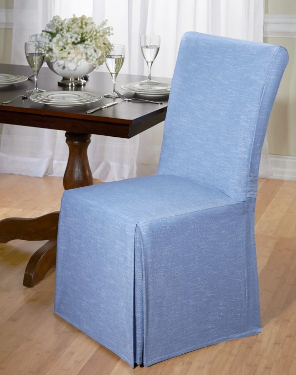 Luxurious Cotton Dining Chair Cover Chambray Tie Room Blue