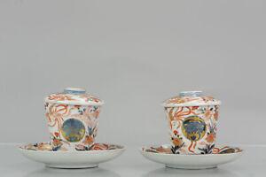 Pair 18C Japanese Porcelain Cup / Chocolate Beaker Saucer Imari Edo Period