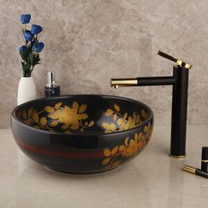 details about ceramics bathroom sink basin bowl vessel vanity counter top faucet drain set