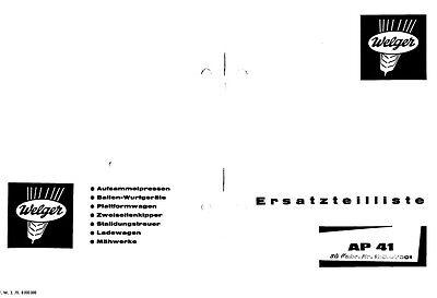 Welger AP41 Baler Parts Manual (PDF file) SPARE PARTS LIST