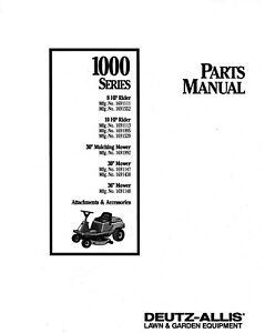 Deutz-Allis 100 Series Lawn Tractor Service Parts Manual