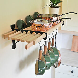 kitchen shelf brackets playsets for kids pan rack 8 wooden laths solid cast iron image is loading amp
