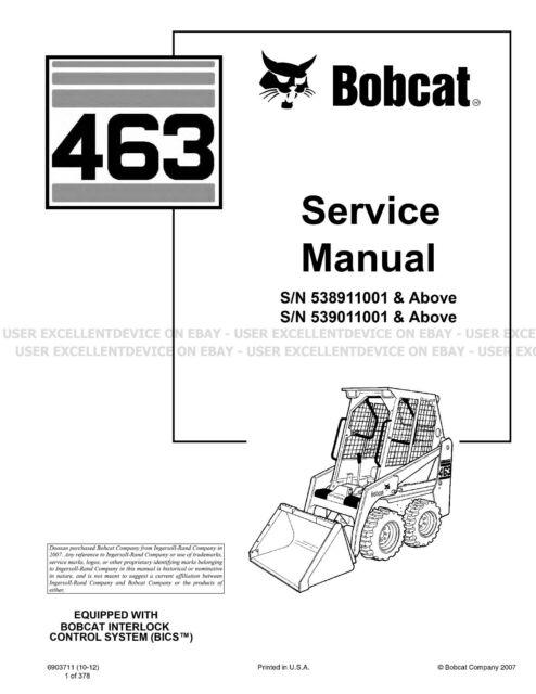 Bobcat 463 Skid Steer Service Manual Shop Repair Book Part