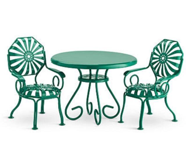 metal patio chair folding velvet american girl doll kit table 2 chairs green furniture nib nanea