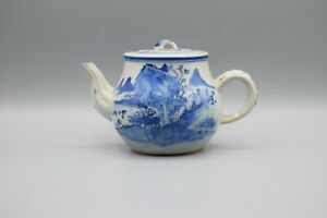 Large Antique Chinese Blue & White Porcelain Teapot Kangxi Revival Qing 19th C.