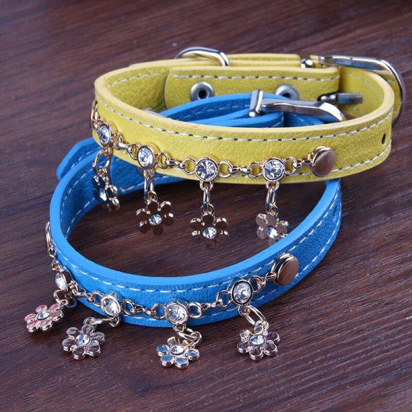 Bling Rhinestone Dog Collars Tassels Diamond Pet Leather