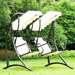 two seater lawn chair human scale chairs outdoor garden 2 canopy swing seat porch loveseat image is loading
