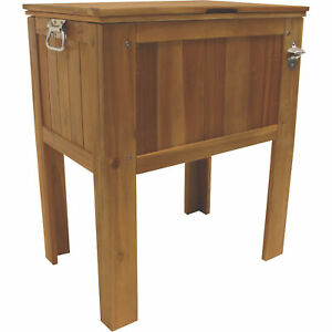 details about 56 qt slatted acacia hardwood wood cooler ice chest outdoor patio bottle opener