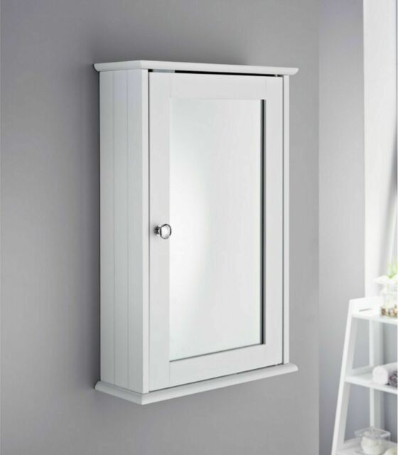 Modern Maine White Bathroom Wall Cabinet Cupboard Mirrored Single Door For Sale Online Ebay