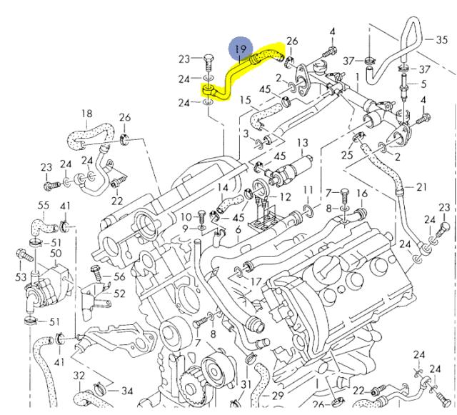 AUDI S4 A6 A6Q 2.7T 2000-04 PASSENGER SIDE COOLANT RETURN