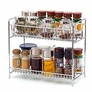 details about chrome 2 tier spice rack packet jar holder kitchen storage spices herbs stand uk