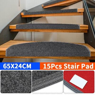 15Pcs Mats Step Staircase Stair Tread Carpet Non Slip Mat   Stair Treads For Carpeted Steps   Carpet Protectors   Skid Resistant   Bullnose Carpet   Anti Slip Stair   Wood