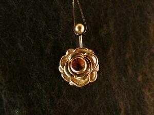 Piercing 24 Karat Gold Anhänger 925 Silber Rosenblüte Bauchnabel Stein Rot