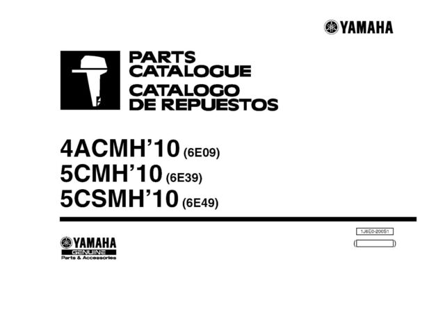 Yamaha Outboard Engine Parts Manual Book 2010 4ACMH (6E09