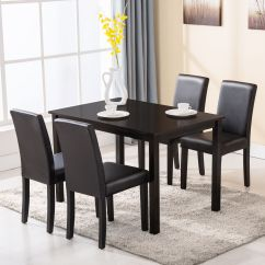 4 Kitchen Chairs Metal Chaise Lounge 5 Piece Dining Table Set Wood Dinette