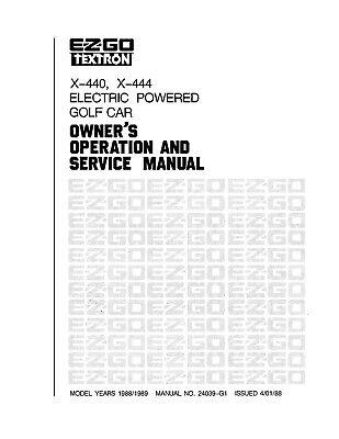 1988-1989 EZGO ELECTRIC GX-440 GX-444 OPERATION SERVICE