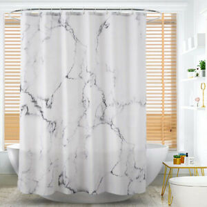 details sur rideau douche baignoire marbre polyester crochets salle bain impermeable panneau