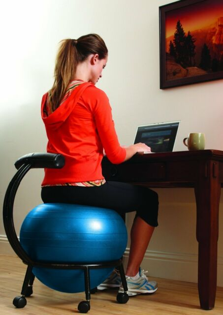 balance posture chair small wooden exercise ball office desk computer seat improve roller new