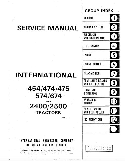 Case International tractor 454 474 475 574 674 2400 2500