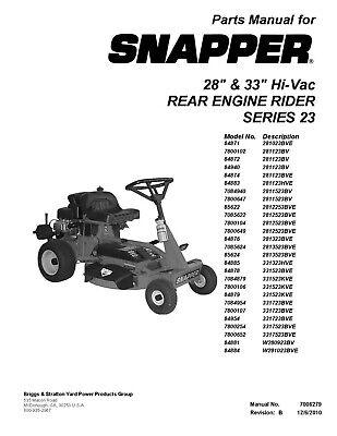 Snapper Parts Repair Manual 28 & 33 Hi-Vac Rear Engine