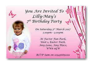 details about 20 personalised girls pink birthday invitations invite any age piw 3 4 5 6 7 8