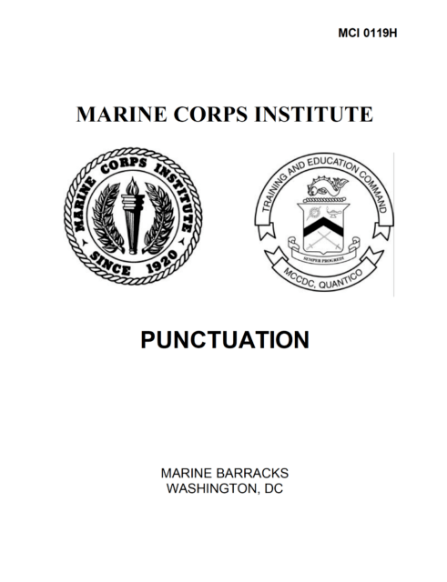 98 Page MARINE CORPS INSTITUTE PUNCTUATION Words Writing