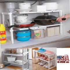 Under Cabinet Shelving Kitchen Living Turbo Convection Oven Sink 2 Tier Storage Shelf Organizer Stand Rack Telescopic