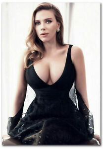 Pin Up Girl Wallpaper Black And White Scarlett Johansson Sexy Black Dress Fridge Magnet Size 2 5