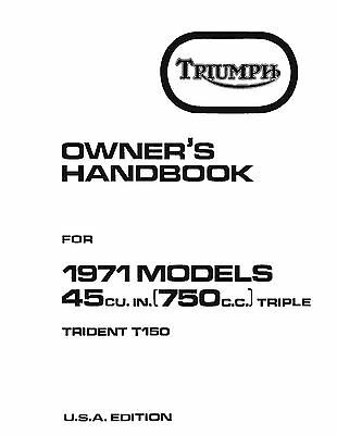 Triumph Owners Manual Book 1971 Trident T150 USA Edition