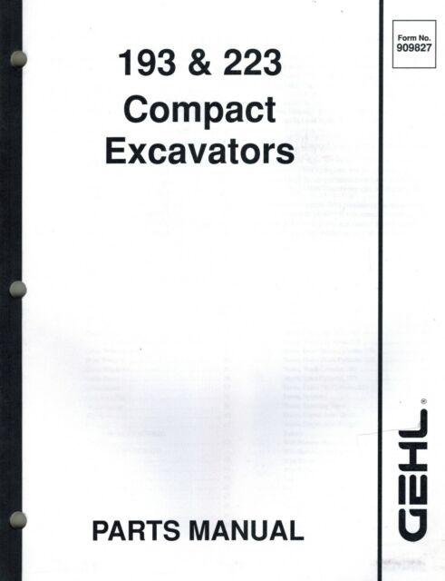 GEHL 193 223 COMPACT EXCAVATOR PARTS MANUAL