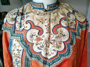 QING MANGUA embroidered silk robe cockerel insects flowers symbols 18 19 century