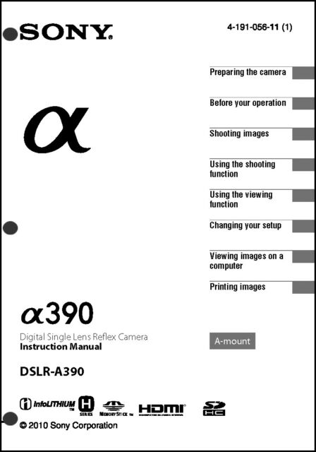 Sony DSLR Alpha A390 Digital Camera User Guide Instruction