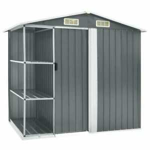 details about vidaxl garden shed with rack grey iron outdoor storage house tool building