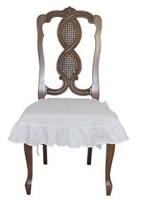 ebay large chair covers desk no wheels 100 linen cover slipcover with 4 sided ruffle in white image is loading