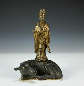 Antique Chinese Ming Dynasty Bronze Statue of Figure and Recumbent Animal