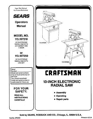 Craftsman 113.197210 113.197250 10