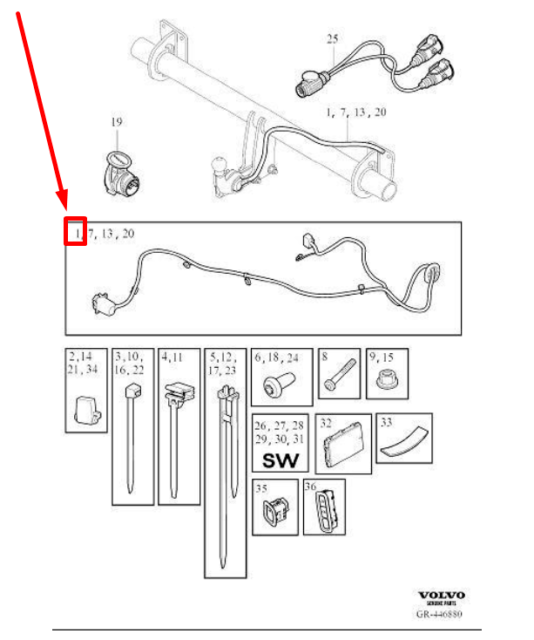 Volvo Xc90 Towing Bar Wiring Harness Genuine 31454694 for